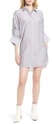 Trouve Stripe Cotton & Silk Shirtdress