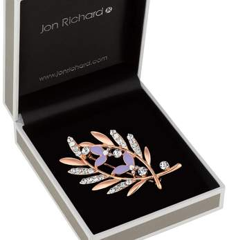 Jon Richard Crystal Crossed Leaf Brooch