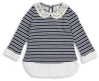 Monteau Girls 7-16 Striped Mixed Media Top $32 thestylecure.com