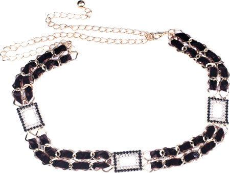 Women's J. Furmani Designer Collection Sparkling Leather Chain Belt