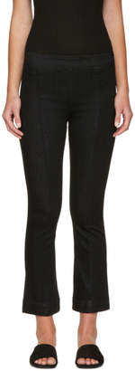 Helmut Lang Black Pull-On Crop Flare Trousers