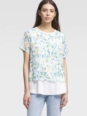 DKNY Stem-Print Layered Chiffon Top