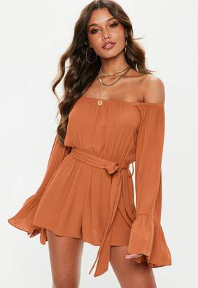 Missguided Petite Rust Flare Sleeve Bardot Playsuit