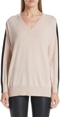 Emporio Armani Stripe V-Neck Cashmere Sweater