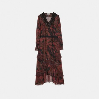 Coach Long Embellished Forest Floral Print Dress