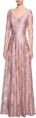 La Femme V-Neck Metallic Embroidered Evening Dress