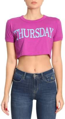 Alberta Ferretti T-shirt Short Stretch Cotton Cropped T-shirt With Thursday Rainbow Week Print