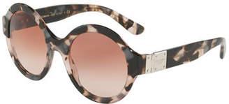 Dolce & Gabbana Round Gradient Acetate Sunglasses w/ Logo Plaque