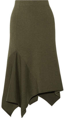 Jason Wu - Asymmetric Stretch Wool-blend Skirt - Army green $695 thestylecure.com