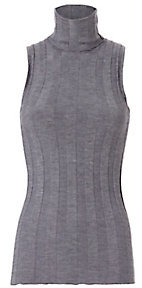 Derek Lam Sleeveless Ribbed Turtleneck: Grey $650 thestylecure.com