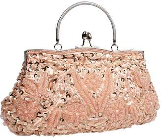 BMC Beaded Sequin Design Metal Frame Kissing Lock Clasp Satin Interior Evening Clutch - Exuding Eloquence Collection