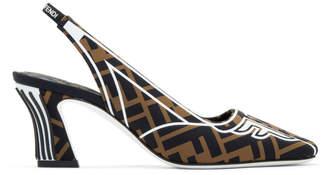 Fendi Brown and Black FFreedom Fabric Slingback Heels
