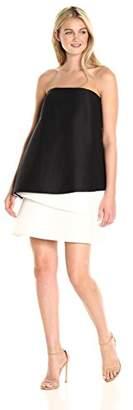 Halston Women's Strapless Tiered Color Block Dress