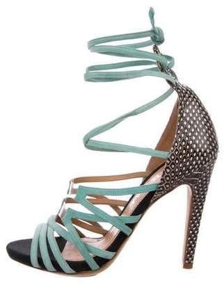 Aperlaï Snakeskin-Trimmed Sandals