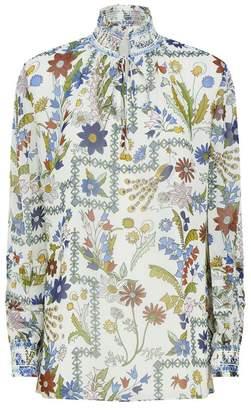 Tory Burch Haley Floral Silk Blouse