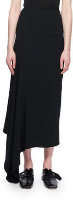 Victoria Beckham Asymmetric-Hem A-Line Calf-Length Crepe Skirt