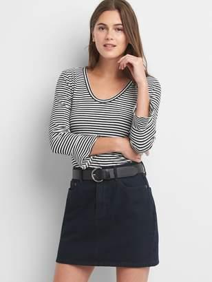 Gap Stripe long sleeve peplum top