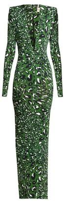 Alexandre Vauthier Plunge Neck Leopard Print Maxi Dress - Womens - Green Print
