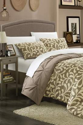 Chic Home Tirina Pleated Pintuck Reversible Duvet Set - Taupe