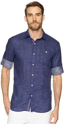 Bugatchi Shaped Fit Linen Shirt with Roll-Up Sleeves Men's Clothing