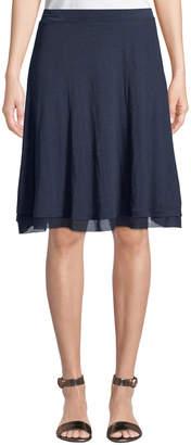 Three Dots Chiffon-Hem Linen A-Line Skirt