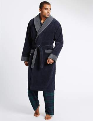 Marks and Spencer Pure Cotton Velour Luxury Dressing Gown