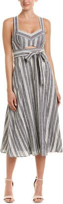 BCBGMAXAZRIA Cutout Linen-Blend Midi Dress