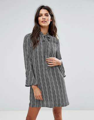Goldie Janey Striped Leaf Printed Shift Dress With Bell Sleeves And Neck Tie