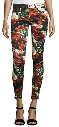 7 For All Mankind Floral-Print Ankle Skinny Jeans, Black $199 thestylecure.com