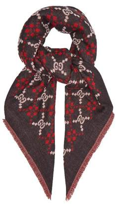 Gucci Gg Diamond Wool Scarf - Mens - Black Red