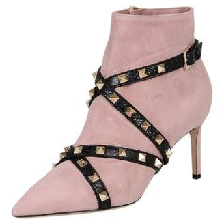 Valentino Rockstud Pink Suede Ankle boots
