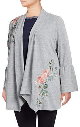 INC International Concepts Plus Embroidered Open Front Cardigan