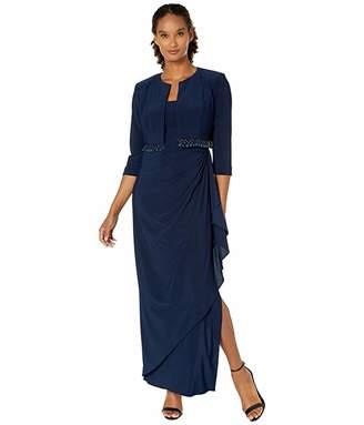 Alex Evenings Long Bolero Jacket Dress with Beaded Fringe Detail Jacket