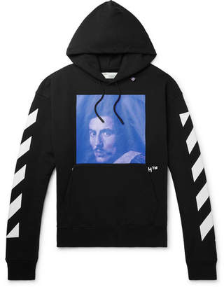 Off-White Printed Fleece-back Cotton-jersey Hoodie
