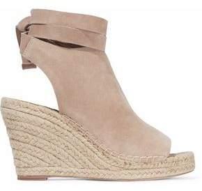 Loeffler Randall Lace-Up Suede Espadrille Wedge Sandals