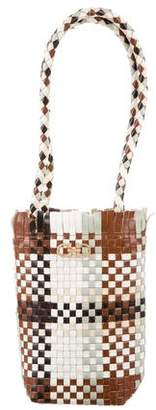 Salvatore Ferragamo Woven Leather Double Gancio Shoulder Bag