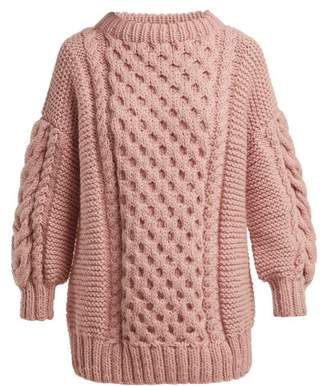 I Love Mr Mittens - Cable Knit Wool Sweater - Womens - Pink