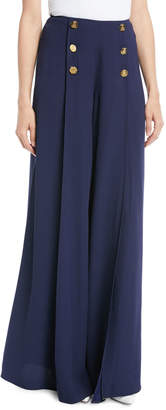 Ralph Lauren Montaine Six-Button Wide-Leg Pants