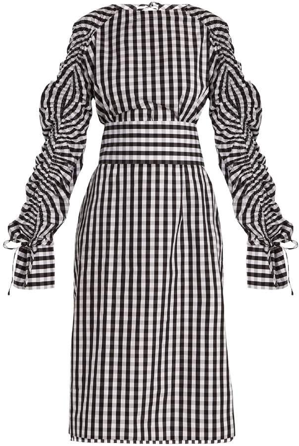 TEIJA Smocked-sleeve cotton-gingham dress