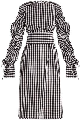 DAY Birger et Mikkelsen TEIJA Smocked-sleeve cotton-gingham dress