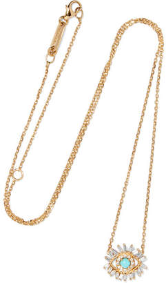 Suzanne Kalan 18-karat Gold, Turquoise And Diamond Necklace