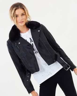 DECJUBA Leah Faux Fur Biker Jacket