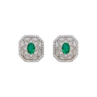 At Wolf Badger Ri Noor Rock Crystal Emerald Earrings