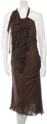 Vera Wang Silk Sleeveless Ruffle Dress $105 thestylecure.com