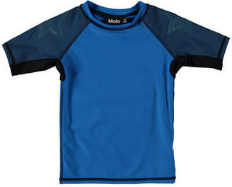 Molo Neptune Colorblock Short-Sleeve Rash Guard, Size 18M-10
