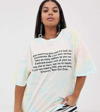 New Girl Order Curve oversized t-shirt in tie dye with manifesto print