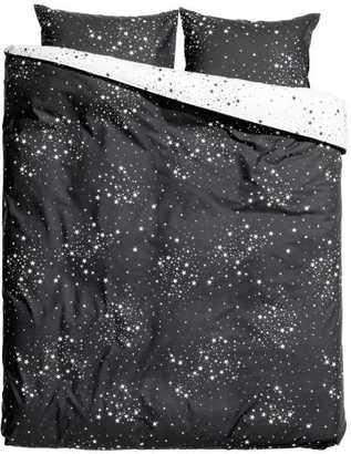 H&M - Patterned Duvet Cover Set - Charcoal gray/stars