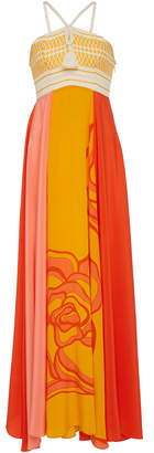 Jaline Bibi Floral Silk Maxi Dress
