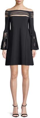 Chiara Boni Karie Off-The-Shoulder Trumpet-Sleeve Mini Cocktail Dress