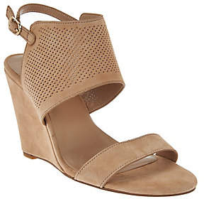 Halston H by High Wedge Suede Sandals- McKenzie